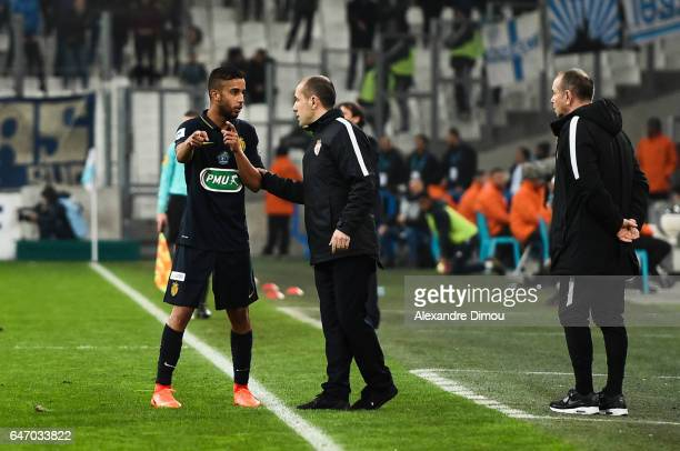 Jorge De Olivera and Leonardo Jardim head coach of Monaco during the French Cup match between Marseille and Monaco at Stade Velodrome on March 1 2017...