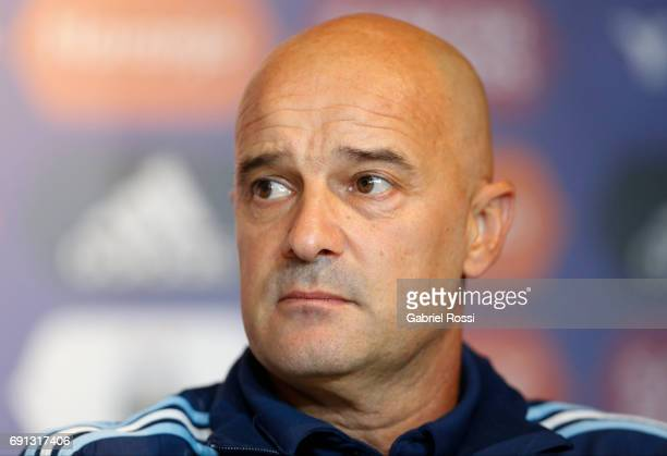 Jorge Desio assistant coach looks on during Jorge Sampaoli presentation as new Argentina coach at Argentine Football Association 'Julio Humberto...