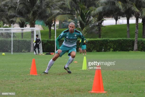 Jorge Enriquez Garcia of Santos runs during the Pre Season training for the Torneo Apertura 2017 Liga MX at Hotel Iberostar on June 20 2017 in Cancun...