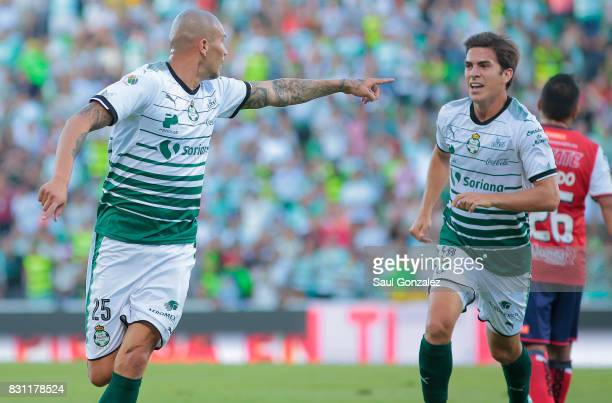 Jorge Enriquez of Santos celebrates after scoring the first goal of his team during the 4th round match between Santos Laguna and Veracruz as part of...