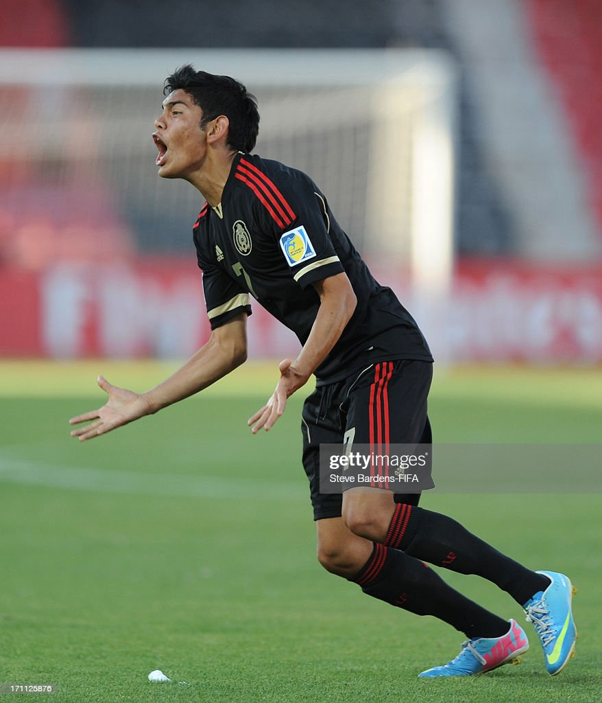 Jorge Espericueta of Mexico celebrates scoring a goal during the FIFA U20 World Cup Group D match between Mexico and Greece at Kamil Ocak Stadium on June 22, 2013 in Gaziantep, Turkey.