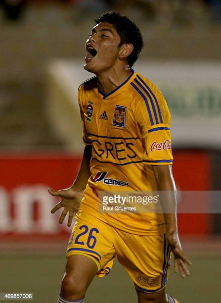 Jorge Espiricueta of Tigres celebrates after scoring the fifth goal of his team against Juan Aurich during a match between Juan Aurich and Tigres as...