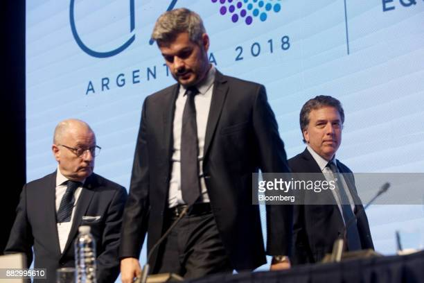 Jorge Faurie Argentina's foreign affairs minister from left Marcos Pena Argentina's cabinet chief and Nicolas Dujovne Argentina's treasury minister...