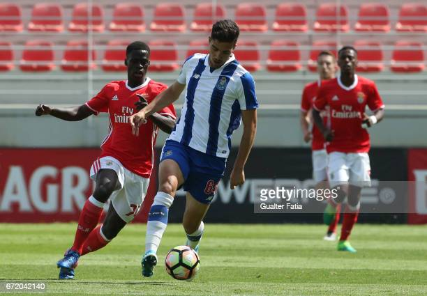 Jorge Fernandes of FC Porto B with Banjaqui of SL Benfica B in action during the Segunda Liga match between SL Benfica B and FC Porto B at Caixa...