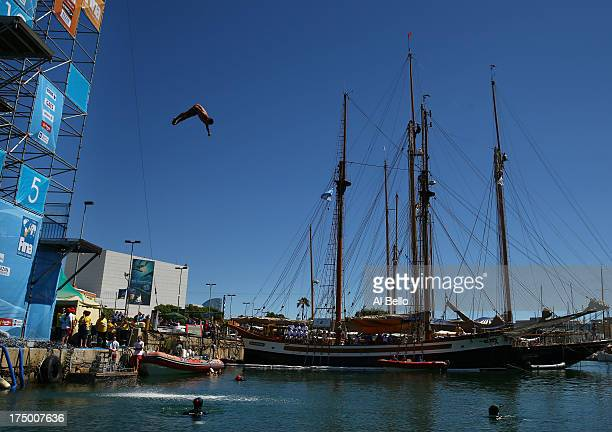 Jorge Ferzuli of Mexico competes during the Men's 27m High Diving on day ten of the 15th FINA World Championships at Moll de la Fusta on July 29 2013...