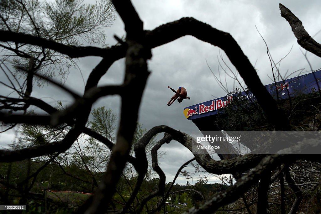 Jorge Ferzuli of Mexico competes during the Red Bull Cliff Diving qualifying round in the Hawkesbury River on February 2, 2013 in Sydney, Australia.