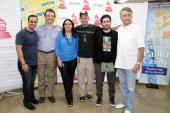 Jorge Flynn Gabriel Abaroa Ana Veronica Concepcion Rene Perez Eduardo Cabra of Calle 13 and Manolo Diaz attend 'Latin GRAMMY In The Schools' at...