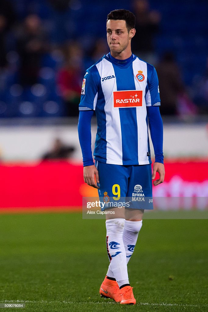 Jorge Franco 'Burgui' of RCD Espanyol looks dejected after the La Liga match between RCD Espanyol and Real Sociedad de Futbol at Cornella-El Prat Stadium on February 8, 2016 in Barcelona, Spain.