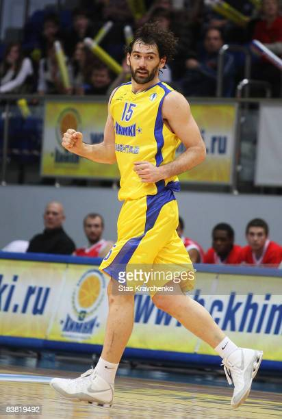 Jorge Garbajosa #15 of Khimki Moscow in action during the Eurocup Basketball Game 1 match between BC Khimki Moscow Region and STB Le Havre at the...