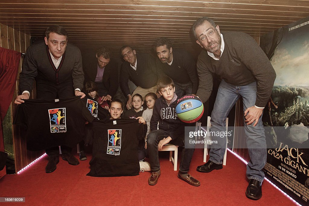 Jorge Garbajosa (2L) and Juan Antonio Orenga (1R) attend 'Jack el Caza Gigantes' premiere photocall at smallest cinema of the world at Kinepolis cinema on March 13, 2013 in Madrid, Spain.