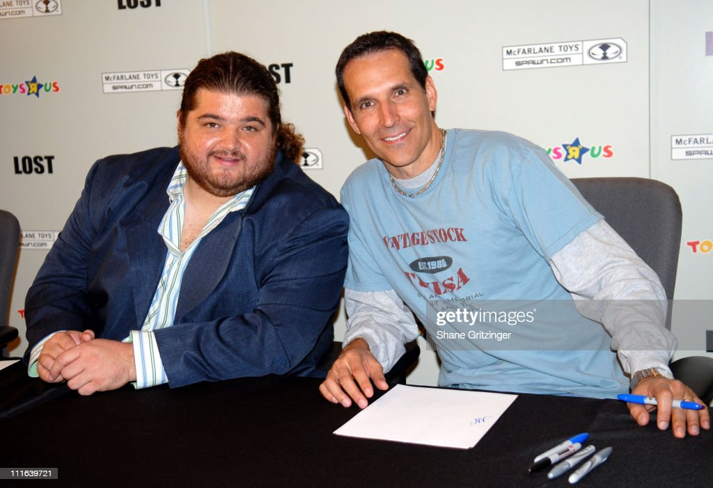 Jorge Garcia and Todd McFarlane during Todd McFarlane and Jorge Garcia of TV's 'Lost' Launch 'Lost' Action Figures November 6 2006 at Toys 'R Us...