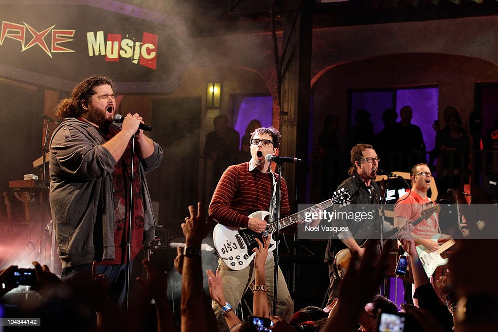 Jorge Garcia Rivers Cuomo Scott Shriner Patrick Wilson of Weezer perform at The 2nd Annual Axe Music 'One Night Only' concert series on September 21...