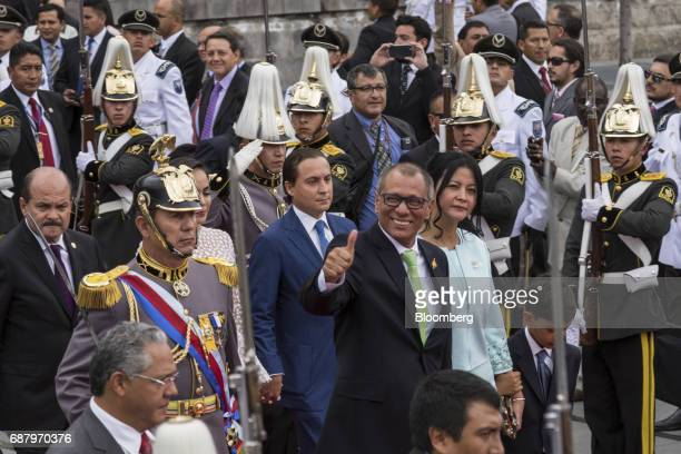 Jorge Glas Ecuador's vice president gestures while exiting the National assembly building after the presidential inauguration of Lenin Moreno...