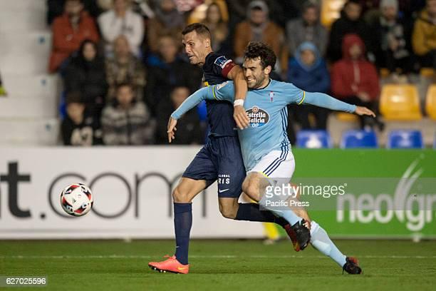 Jorge Góngora and Giuseppe Rossi during the match between UCAM CF against RC Celta de Vigo round of 16 of Cup in Condomina stadium The Celta of Vigo...
