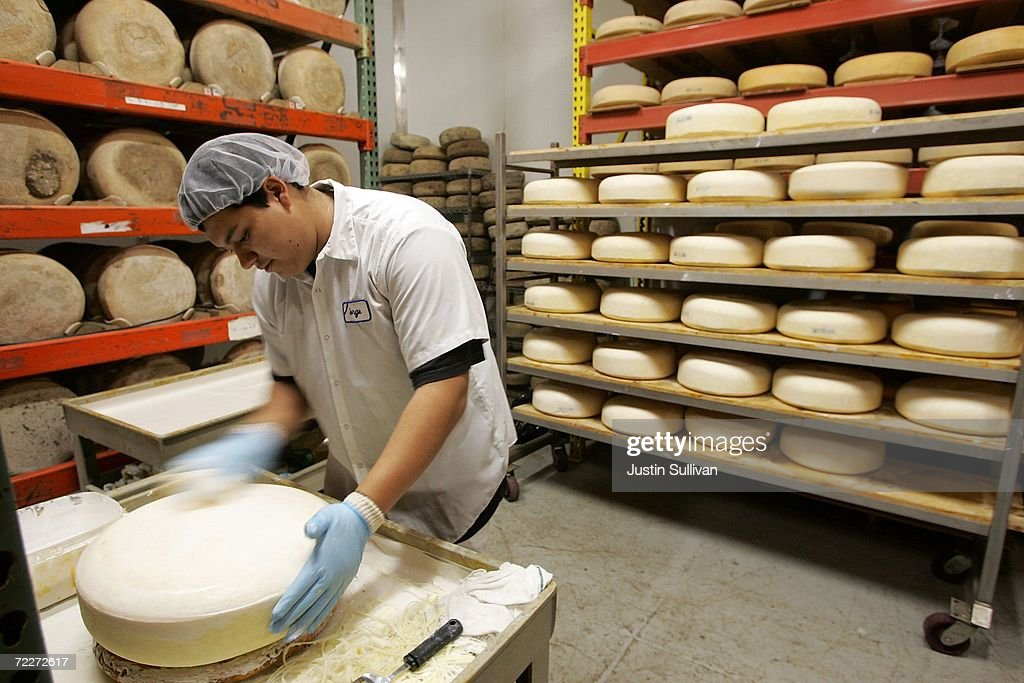 Jorge Godinez prepares a wheel of Fiscalini San Joaquin Gold cheese for aging at the Fiscalini Cheese Co October 26 2006 in Modesto California...