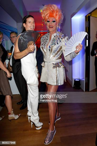 Jorge Gonzalez and Olivia Jones attend the 'Bertelsmann Summer Party' at Bertelsmann Repraesentanz on June 22 2017 in Berlin Germany