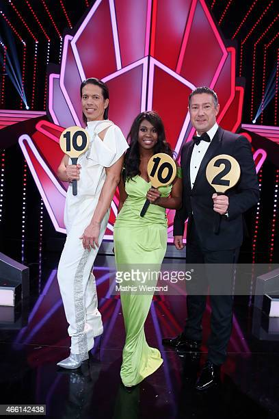 Jorge Gonzalez Motsi Mabuse and Joachim Llambi atend the 1st show of the television competition 'Let's Dance' on March 13 2015 in Cologne Germany