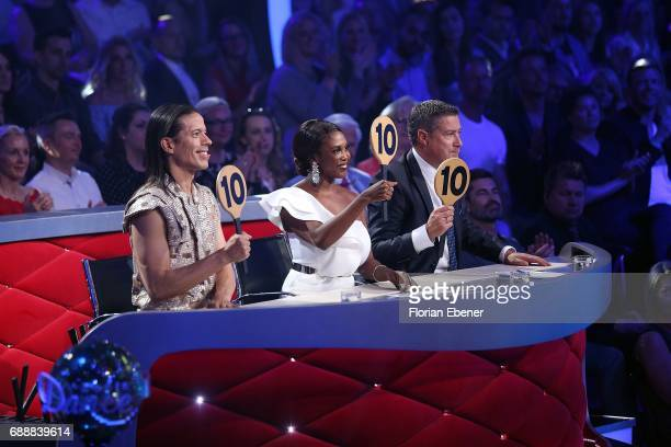 Jorge Gonzalez Motsi Mabuse and Joachim Llambi during the 10th show of the tenth season of the television competition 'Let's Dance' on May 26 2017 in...