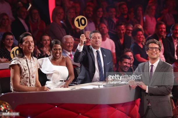 Jorge Gonzalez Motsi Mabuse Joachim Llambi and Daniel Hartwich during the 10th show of the tenth season of the television competition 'Let's Dance'...
