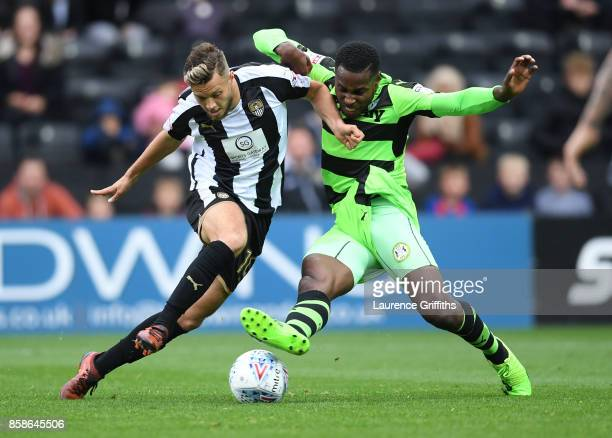 Jorge Grant of Notts County battles with Dale Bennett of Forest Green Rovers during the Sky Bet League Two match between Notts County and Forest...
