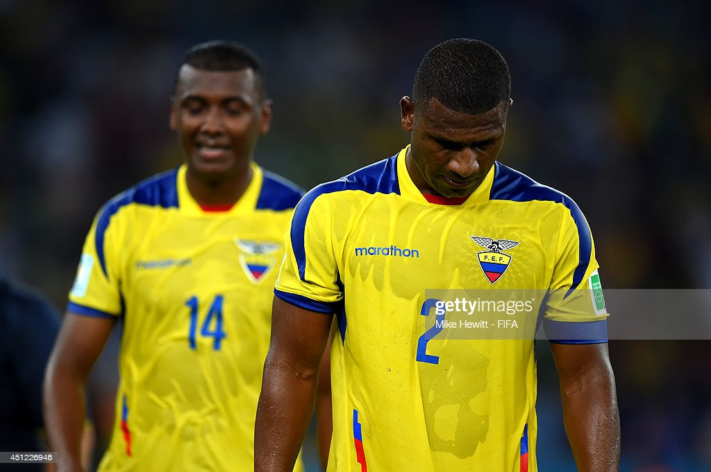 Jorge Guagua of Ecuador shows his dejection after the 0-0 draw in the 2014 FIFA World Cup Brazil Group E match between Ecuador and France at Maracana on June 25, 2014 in Rio de Janeiro, Brazil.