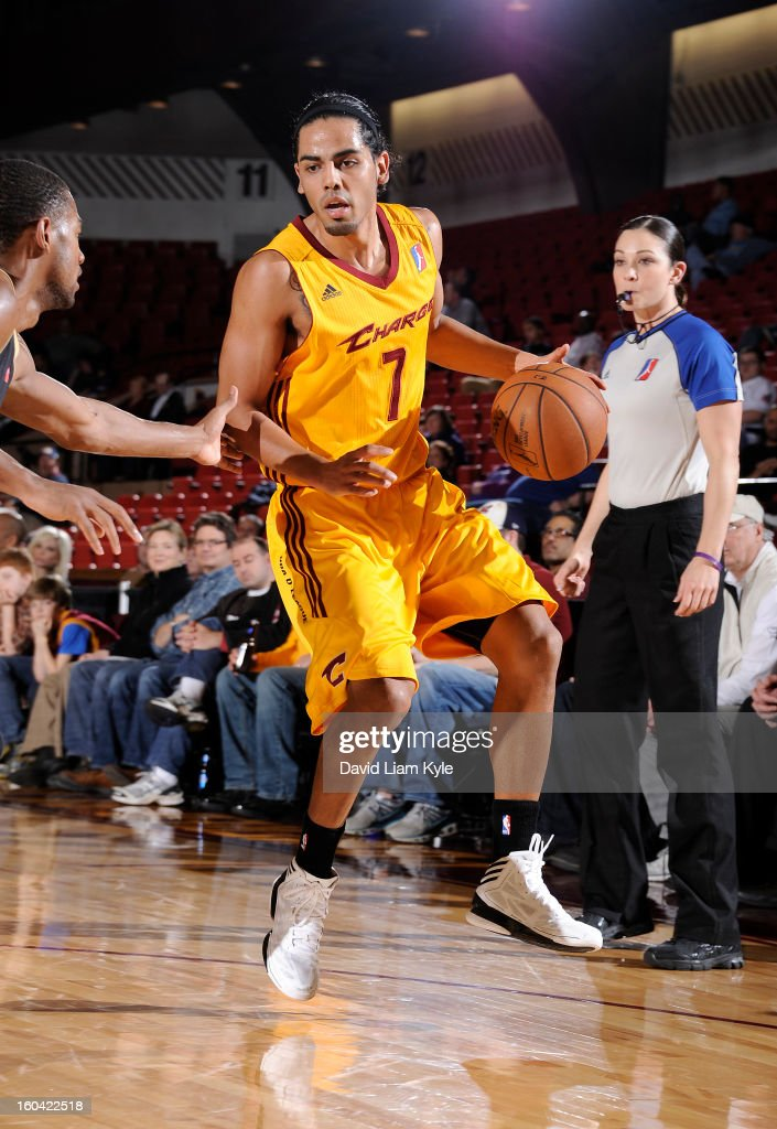 Jorge Gutierrez #7 of the Canton Charge looks to make a move against the Erie BayHawks at the Canton Memorial Civic Center on January 30, 2013 in Canton, Ohio.