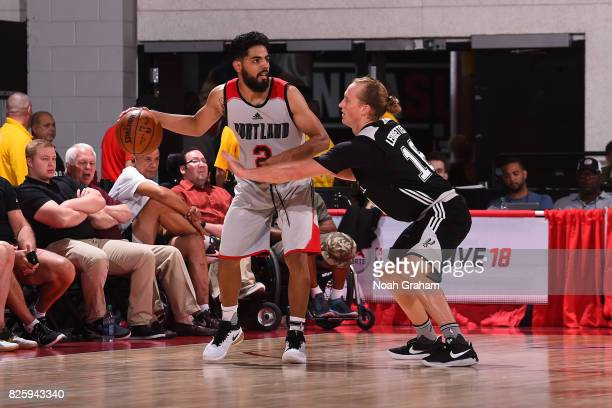 Jorge Gutierrez of the Portland Trail Blazers dribbles the ball during the 2017 Las Vegas Summer League game against the San Antonio Spurs on July 11...