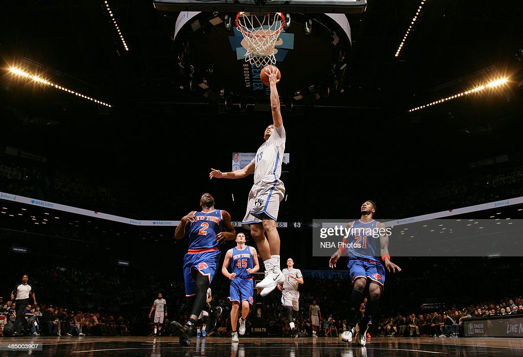 Jorge Gutierrez shoots during a game against the New York Knicks at Barclays Center in Brooklyn.