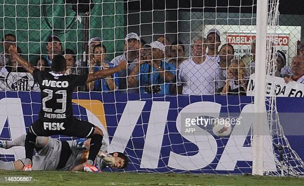 Jorge Henrique of Brazilian's Corinthians celebrates after scoring against Brazilian Santos during their Copa Libertadores football semifinal first...