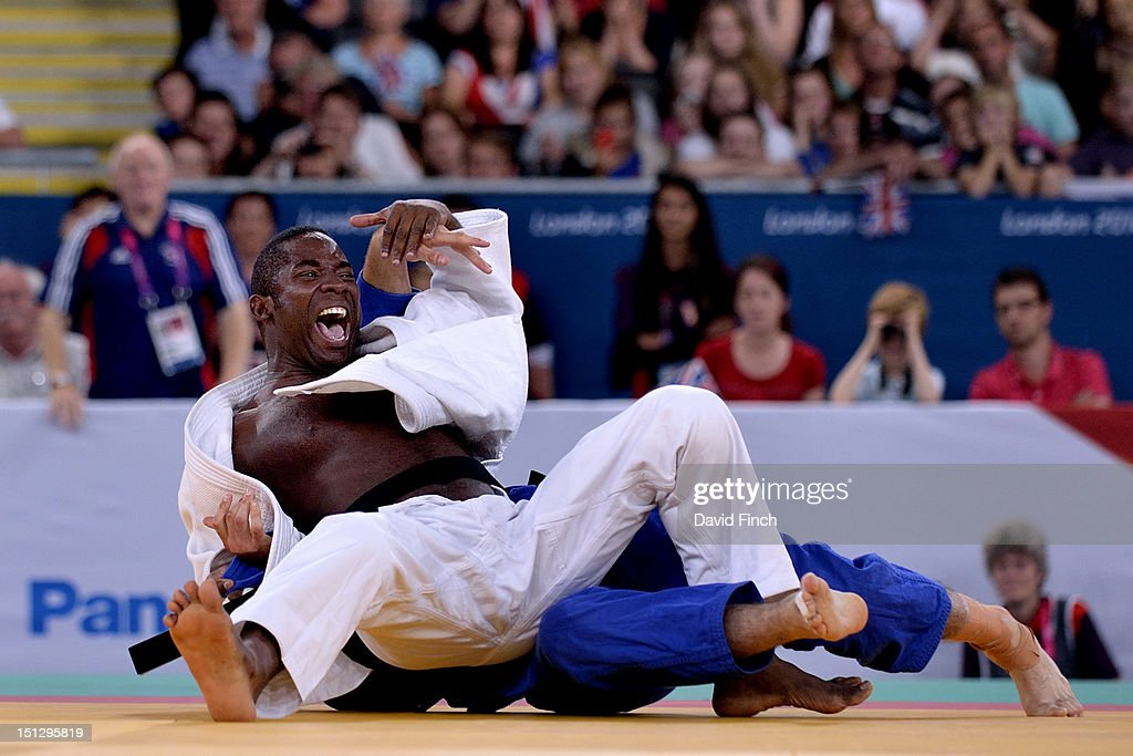 Jorge Herrezuelo Marcellis of Cuba (white) narrowly defeated Sam Ingram of Great Britain with this yuko (5 points) throw to win the u90kgs gold medal on Day 3 of the London Paralympic Games at the ExCeL on September 1, 2012 in London, England.