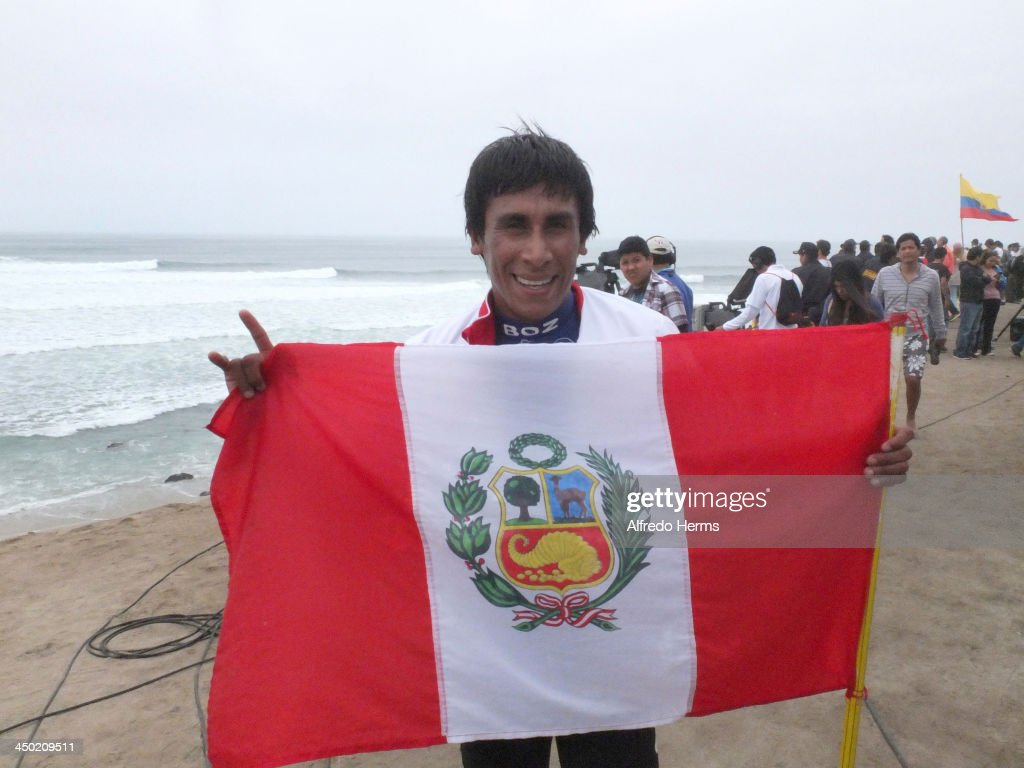 Jorge Hurtado of Peruœ wins the first gold medal in Surf Bodyboard event as part of the XVII Bolivarian Games Trujillo 2013 at Playa punta Rocas on November 17, 2013 in Lima, Peru.