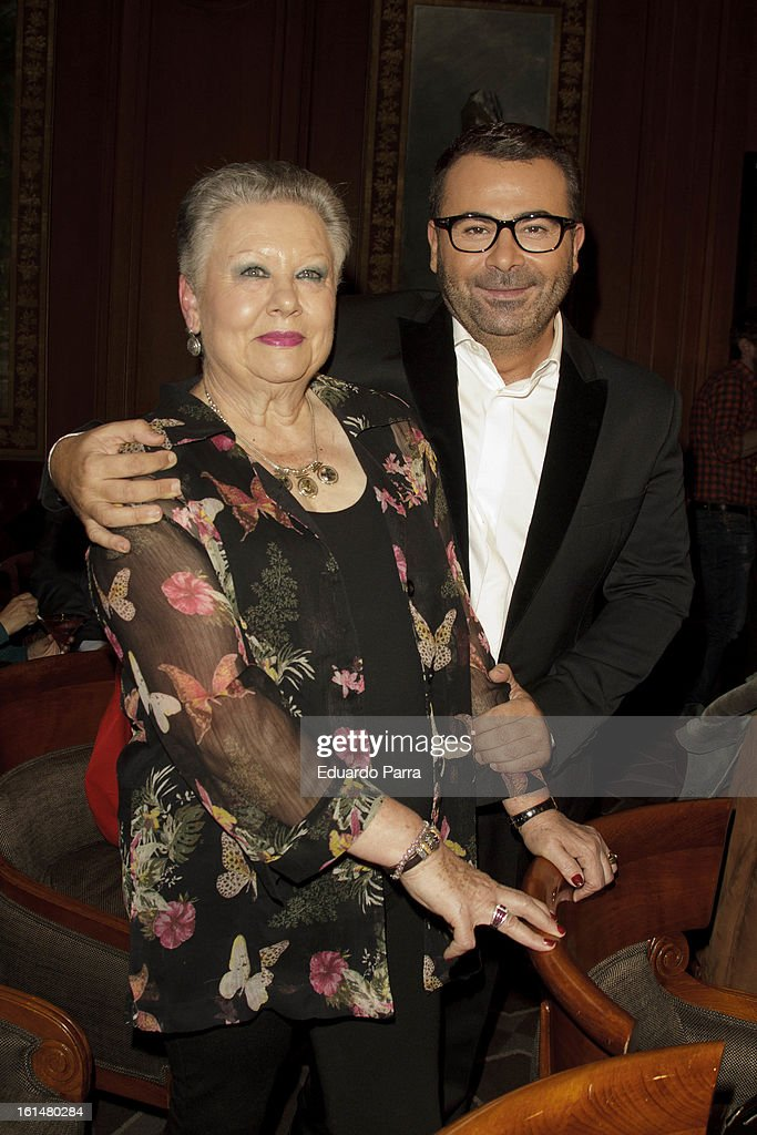 Jorge Javier Vazquez and his mother Maria Morales attend Jorge Javier Vazquez's Golden Book party at Gran Melia Fenix hotel on February 11, 2013 in Madrid, Spain.