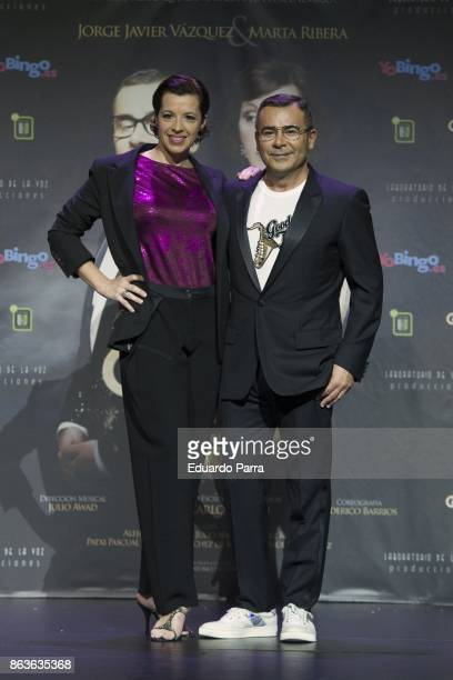 Jorge Javier Vazquez and Marta Ribera attend the 'Grandes Exitos' press conference at Rialto theatre on October 20 2017 in Madrid Spain