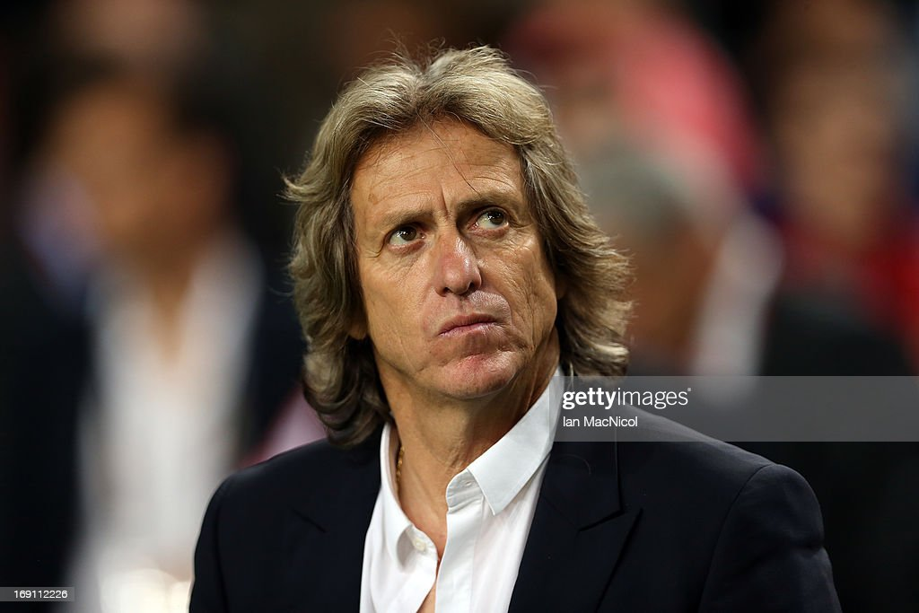 Jorge Jesus manager of SL Benfica looks on during the Europa League Final match between Chelsea and SL Benfica at The Amsterdam Arena on May 15, 2013 in Amsterdam, Netherlands.