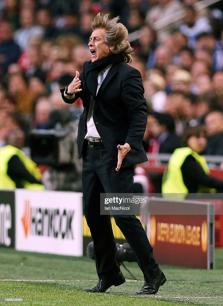 <a gi-track='captionPersonalityLinkClicked' href=/galleries/search?phrase=Jorge+Jesus&family=editorial&specificpeople=686973 ng-click='$event.stopPropagation()'>Jorge Jesus</a> manager of SL Benfica reacts during the Europa League Final match between Chelsea and SL Benfica at The Amsterdam Arena on May 15, 2013 in Amsterdam, Netherlands.