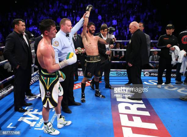 Jorge Linares of Venezuela celebrates victory with his team following the WBC Diamand and Ring Magazine Lightweight Championship rematch between...