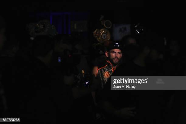 Jorge Linares of Venezuela enters the arena prior to a bout against Luke Campbell of Great Britain for the WBA lightweight title bout at The Forum on...