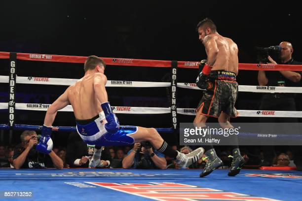 Jorge Linares of Venezuela looks on after knocking down Luke Campbell of Great Britain during the second round of their WBA lightweight title bout at...