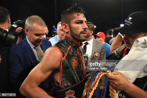 Jorge Linares of Venezuelalooks on after defeating Luke Campbell of Great Britain by decision in their WBA lightweight title bout at The Forum on...