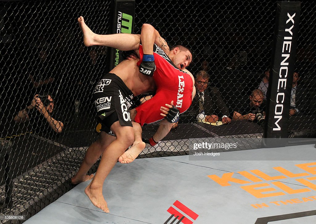 Jorge Lopez takes down Justin Edwards during the UFC Fight Night event at the New Orleans Convention Center on September 17, 2011 in New Orleans, Louisiana.