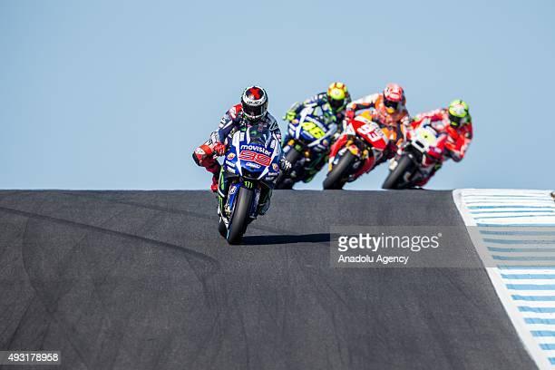 Jorge Lorenz of Movistar Yamaha MotoGP leading Marc Marquez of Repsol Honda Team and Valentino Rossi of Movistar Yamaha MotoGP on top of lukey...