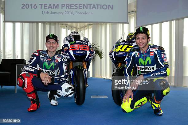 Jorge Lorenzo and Valentino Rossi attend the Movistar Yamaha MotoGP Presentation at the Telefonica tower on January 18 2016 in Barcelona Spain
