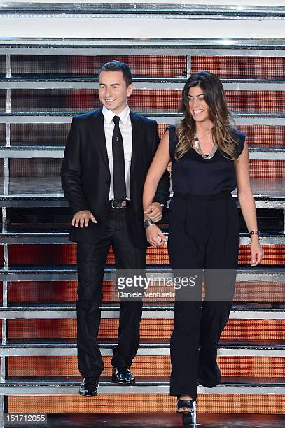 Jorge Lorenzo and Vicky Piria attend the 2012 Miss Italia beauty pageant at the Palazzetto of Montecatini on September 10 2012 in Montecatini Terme...