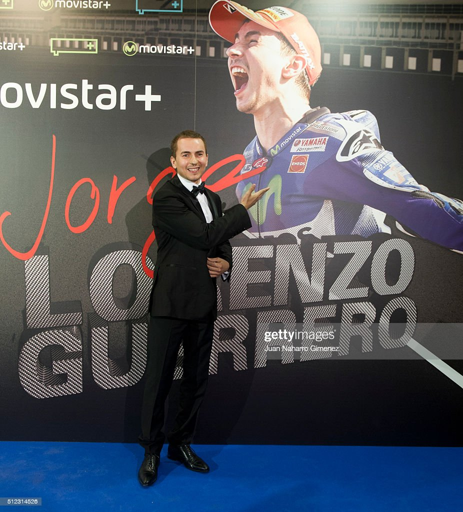 Jorge Lorenzo attends 'Lorenzo, Guerrero' premiere at Cine Proyecciones on February 25, 2016 in Madrid, Spain.