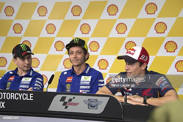 Jorge Lorenzo of Italy and Movistar Yamaha MotoGP Valentino Rossi of Italy and Movistar Yamaha MotoGP and Marc Marquez of Spain and Repsol Honda Team...