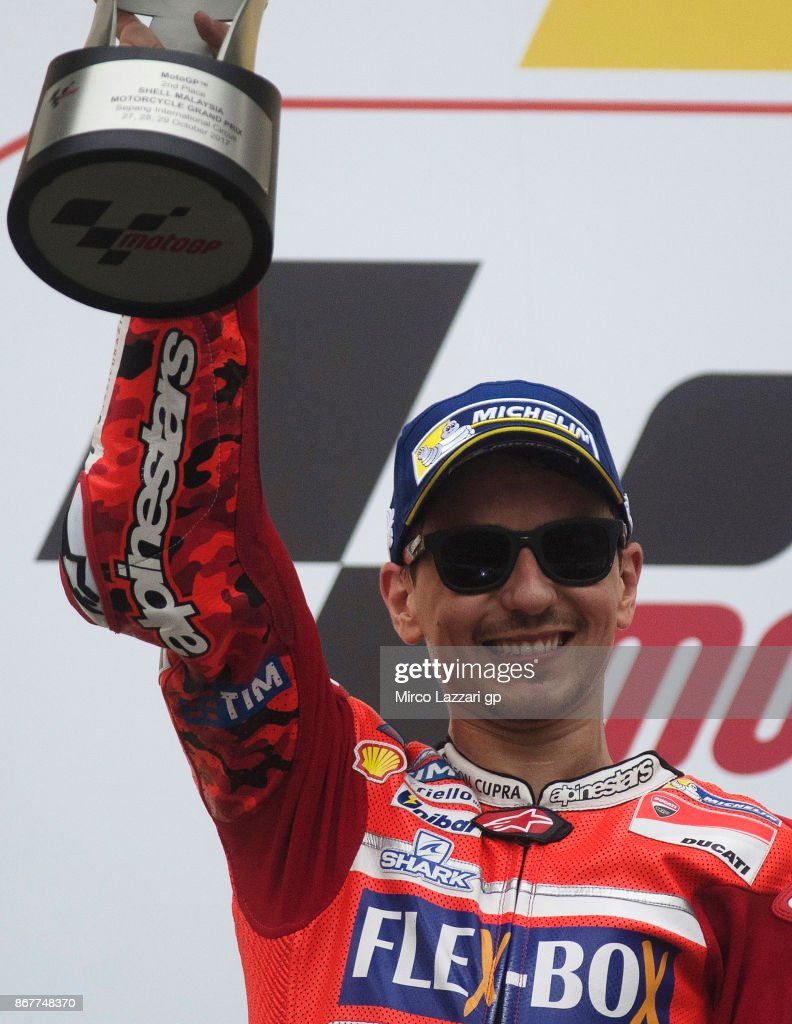 Jorge Lorenzo of Spain and Ducati Team celebrates the second place on the podium at the end of the MotoGP race during the MotoGP Of Malaysia - Race at Sepang Circuit on October 29, 2017 in Kuala Lumpur, Malaysia.