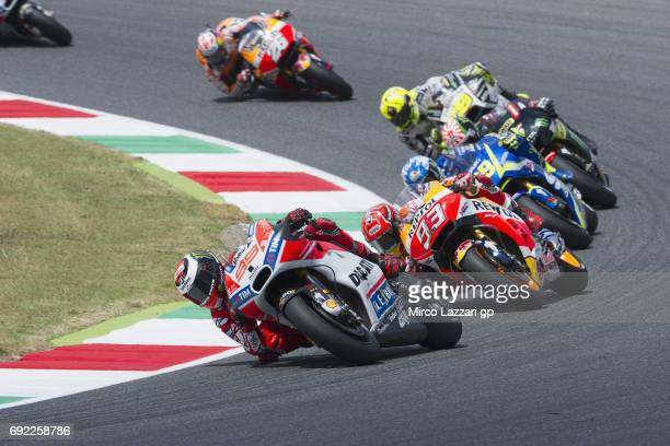 Jorge Lorenzo of Spain and Ducati Team leads the field during the MotoGP race during the MotoGp of Italy Race at Mugello Circuit on June 4 2017 in...