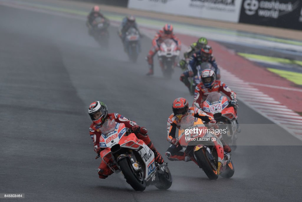 Jorge Lorenzo of Spain and Ducati Team leads the field during the MotoGP Race during the MotoGP of San Marino - Race at Misano World Circuit on September 10, 2017 in Misano Adriatico, Italy.