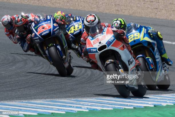 Jorge Lorenzo of Spain and Ducati Team leads the fields during the MotoGP race during the MotoGp of Spain Race at Circuito de Jerez on May 7 2017 in...