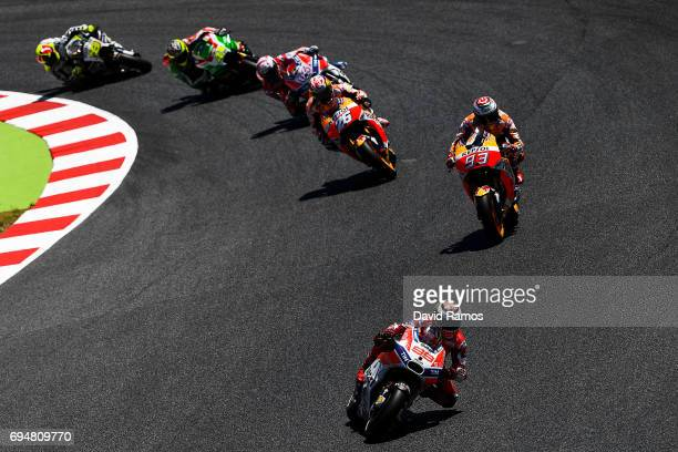 Jorge Lorenzo of Spain and Ducati Team leads the race during the MotoGp of Catalunya at Circuit de Catalunya on June 11 2017 in Montmelo Spain
